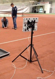 Deploying portable HAIP system at a sports field.